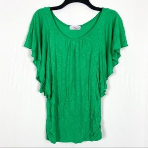 Bright Green Ruffle Sleeve Top Scoop Neck Small